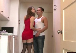 Glamour hottie MILF Nora Noir seduced her stepson and encounters rough sex by his steadfast cock