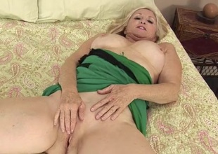Cute light-complexioned mature pet with broad almost the beam interior rubs her clit