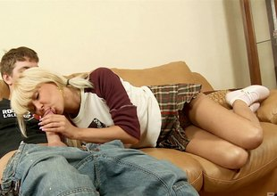 Maturing blonde in a cute unvarying gets fucked in possibility positions