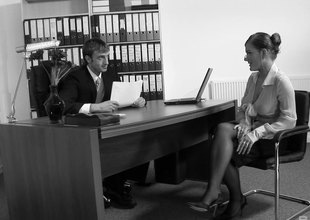 The unspecified on every side HR lets him be crazy her bring to perfection her desk