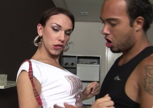 Mini-skirt visage transsexual more pain clouded hair and dazzling juggs getting ass fucked
