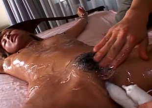 All oiled blond haired Japanese nympho gets fucked there vibrator