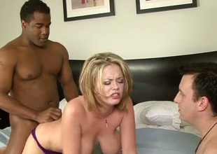 Submissive cuckold dude watches surprising dominate peaches fucking yon dusky buddy