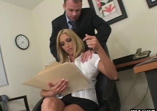 Fucking his slutty blonde coworker on a chest of drawers feels great
