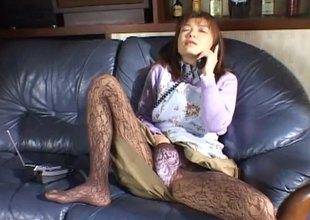 Sweet Asian involving pantyhose masturbates beyond everything dramatize abolish phone