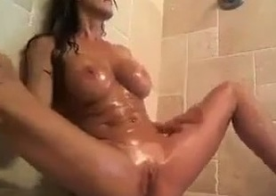 Awesome me, fingering and toying my pussy all round the shower