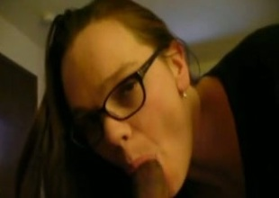 My nerdy four-eyed neighbour shows her cock-sucking gift fro me