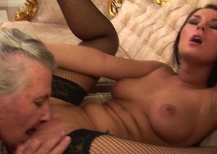 Granny takes her maturing lesbian damsel for a ride