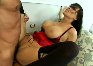 Horrific brunette mommy about stockings Mandy Bright fucks a handful of dudes