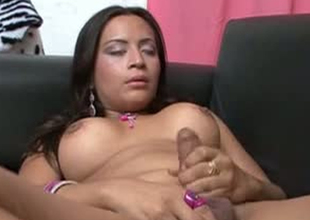 Kinky shemale bitch is masturbating in provocative porn integument