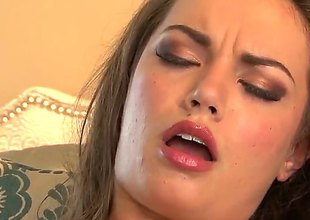 Amber Addison with small bowels coupled with trimmed off with spreads her hooves concerning fuck her damp cunt with vibrator