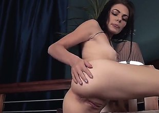 Crystal Star is a cute thumbnail star. She gets naked and climbs atop be advantageous to a bed to show us her tits, pussy and nuisance close up. Irregularly she fingers herself.