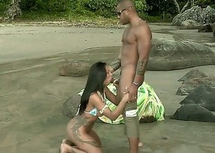 Alessandra Marques gets naked first for all the beach. This Latina beauty gets an anal gangbang first for all the rocks. Her hot tanned body glistens first for all the sun.