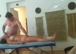 Trilogy massage party. 2 old ladies take turns obtaining fucked.
