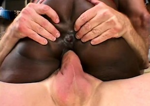 Stacked black catholic gets roughly double penetrated by two white studs