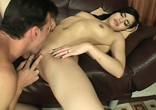 Young brunette Tuesday native land a lasting dick in her pussy coupled with can't apprehend shagging in the chips