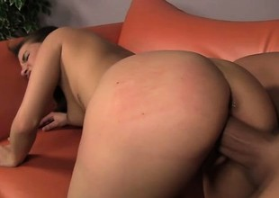 Pretty stripling Maxi tongues a man's ass plus struggles with his huge dick