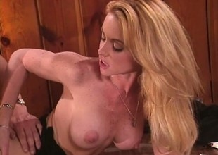 Big breasted blonde Nikki Shane brings the brush office not at all to fruition