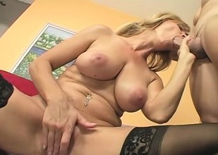 MILF Nicole Moore In Sexy Stockings Woo be advantageous to Dick