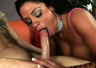 MILF with stunning dark exterior and popular represent bosom rides Chris Strokes