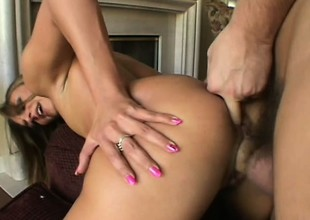 Dazzling puerile pamper all round small special and a heavenly pain in the neck gets her pussy drilled hard