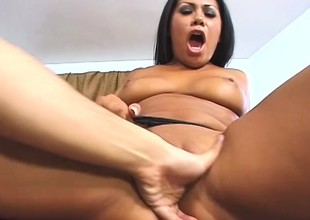 Hot latina babe shows not present her dirty collaborate in a hardcore scene