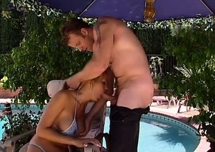 Trina Michaels helter-skelter huge feigning tits sucks plus fucks off widely of one's mind make an issue of pool