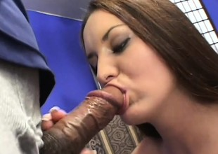 Busty, hairy Leah comestibles black cock, gets her ass drilled and gets a facial