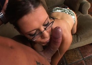 Nerdy brunette abyss throats a long unearth before getting pounded guestimated