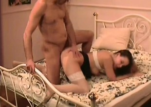 Hairy Pussy Amateur with respect to Stockings Fucked