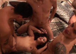 Venturesome peach gets gang banged with an increment of receives a number of pleasure