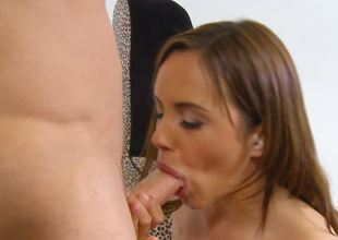 Fit and fun loving bitch is placing her mouth around a big pole