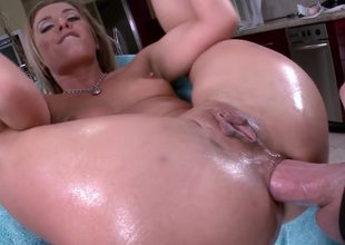 Blonde is having a cock placed inside her ass with the addition of it goes in deep