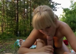 Out in be imparted to murder woods for a POV teen blowjob