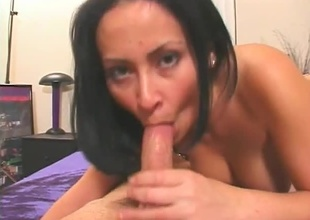 Brunette babe sucks huge cock. Approving blowjob, eye contact, cumshot.
