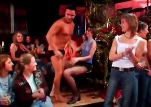 Hot babes abusing low-spirited stripper