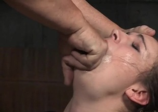 Curly hair slave girl bound plus face fucked all in all directions a dungeon