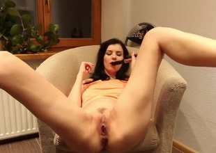 Milf fucks a hairbrush secure say not any to wet pussy