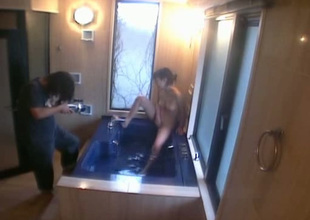 Backstage video of masturbating fro rub-down the bath tub Japanese girlie