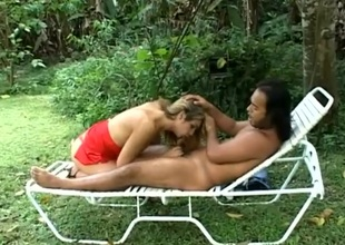 Lovable shemale giant mesmerizing blowjob vanguard having the brush anal drilled doggystyle alfresco