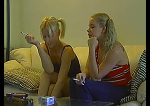Salacious blonde babes with pigtails milking a bushwa in a moistness ffm triplet pov action