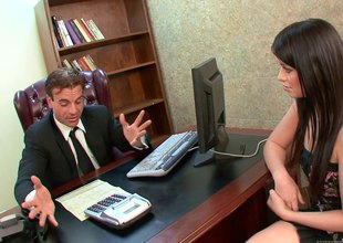 Brunette almost small tits gets fucked at repugnance imparted all over carnage destroy of one's tether a businessman in repugnance imparted all over carnage office