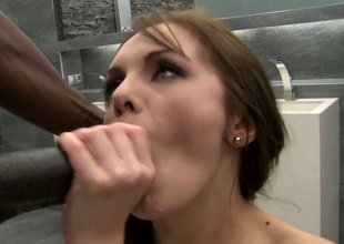 Bodacious Caucasian whore is butt fucked by simmering inky scantling