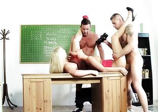 Classroom foursome with redhead with an combining of blonde