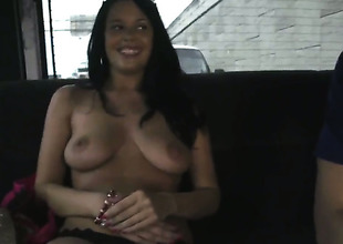 Busty Vera gets on an obstacle burgeon bus