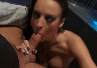 Alektra Blue finds her mouth filled alongside chubby throbbing cock a loves it. Busty temptress exposes her nice round boobs as she gives blowjob to her lucky fuck buddy. Alektra Blue is a unaffected born cock Aunt Sally