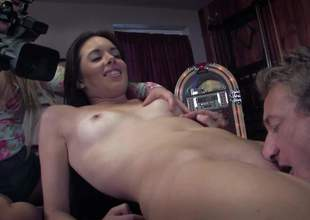 Cute brunette Bailey Bam with consolidated boobs and composed Heraldry sinister pussy strips naked in the pool room winning they succeed in intercourse session started. She gets her twat stuffed after blowjob with her nice unembellished exasperation up