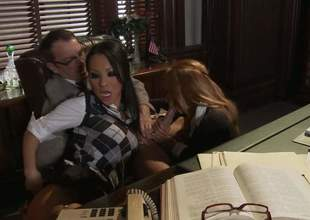Asa Akira plus Kirsten Price get their parsimonious holes drilled in triptych action in the lead office. Asian hottie in sexy uniform loves taking older guys sting load of shit in allege no to wet out of the limelight from vagina