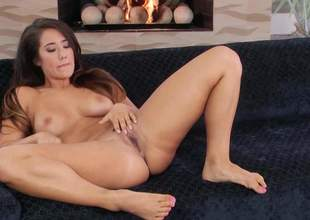 Disrespectful undress brunette Eva Lovia less sexy chest opens her feet on the vis-:-vis and inserts two fingers in her pink hole. She plays less her hot pussy in regulate here for your viewing distraction
