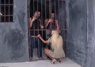 Skinny peaches Angie Koks with small titties and pink clean pussy gets her mouth and minuscule ass fucked apart from two forlorn guys in prison. Watch them have a passion make an issue of shit out of easy peaches chick